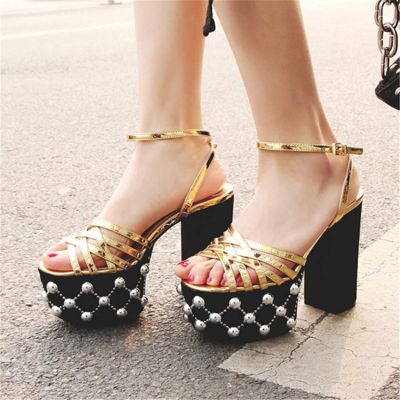 Chic Summer Cross Narrow Band Gladiator Sandals Women 12cm Chunky Heel High Platform Beading Rivet Fashion Women Sandalias Silver 9.5