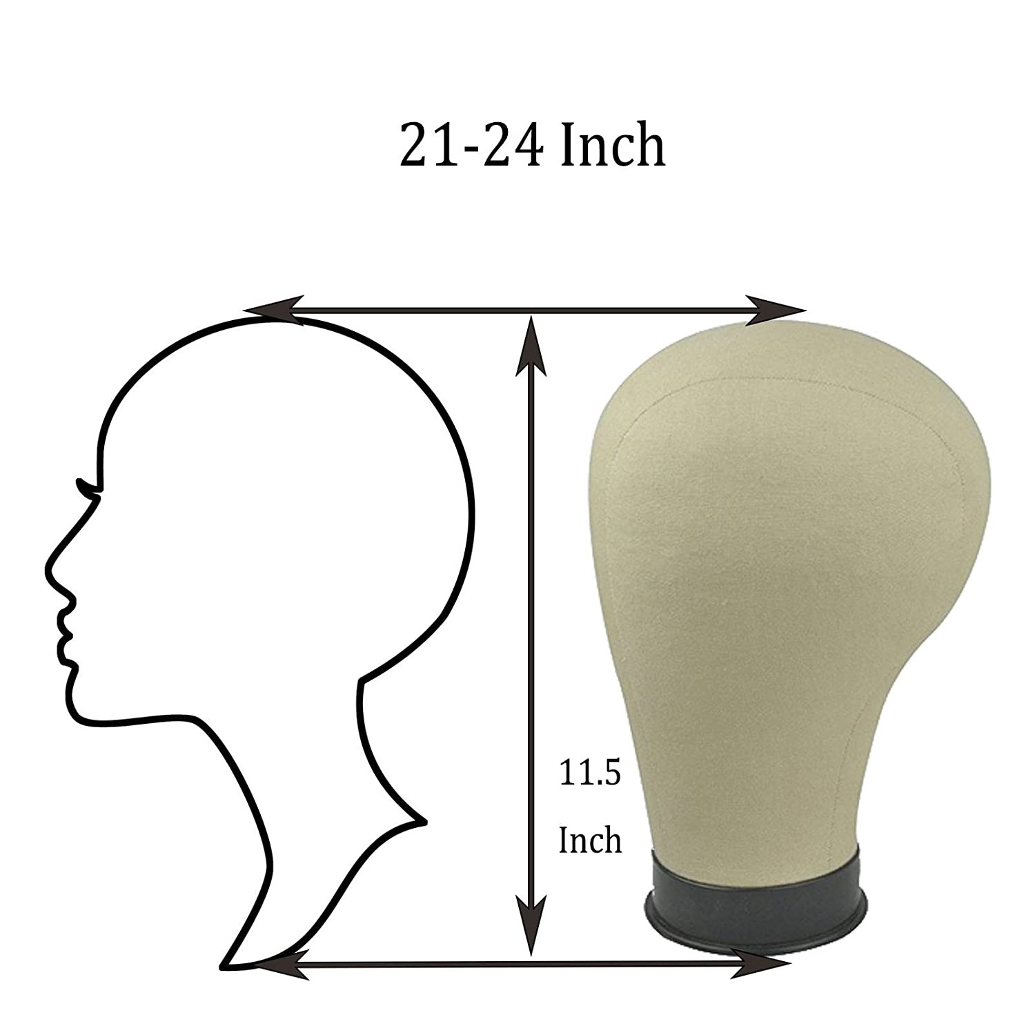 21-24 Black Base Cork Canvas Block Head For Wig Making Drying Styling Coloring 23 Inch Beyond Your Thoughts