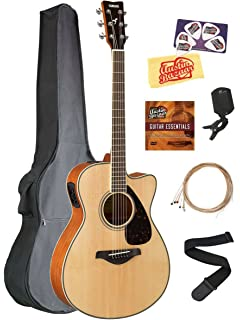 Yamaha FSX820C Solid Top Small Body Acoustic-Electric Guitar - Natural Bundle with Gig Bag