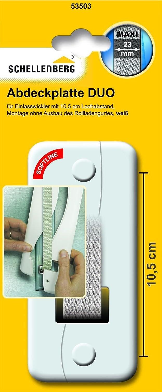 System Maxi: Rolladengurte bis 23 mm Breite Lochabstand: 105 mm Schellenberg 53503 Abdeckplatte DUO f/ür Unterputz-Gurtwickler einfache Montage ohne Ausbau des Rolladen-Gurtbandes