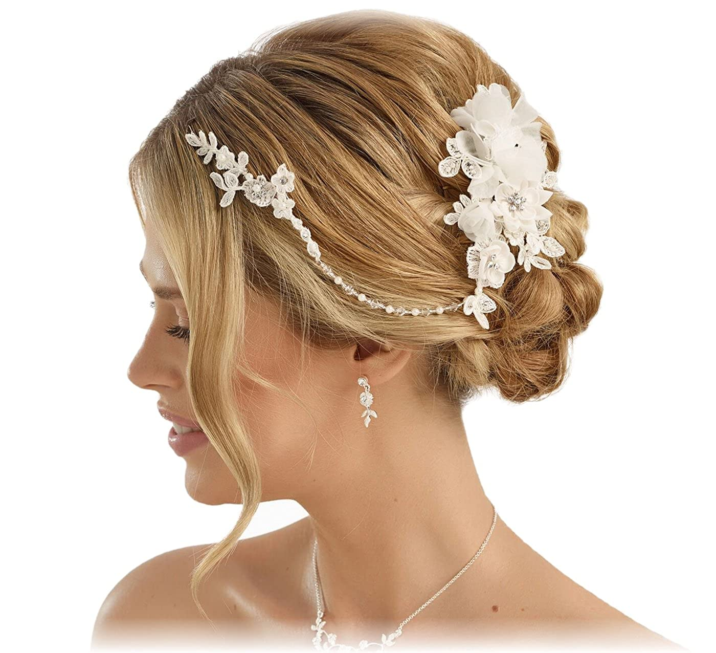 4 Blumen Haarschmuck Haargesteck Hochzeit Fascinator am Kamm Ansteckblume Blüte