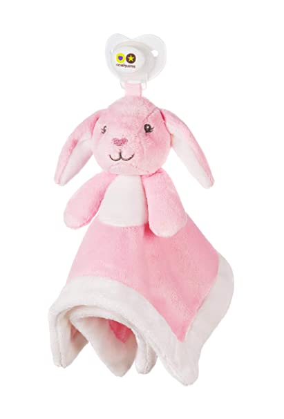 Nookums Paci-Plushies Bunny Blankies- Pacifier Holder (Plush Toy Includes Detachable Pacifier, Use with Multiple Brand Name Pacifiers)