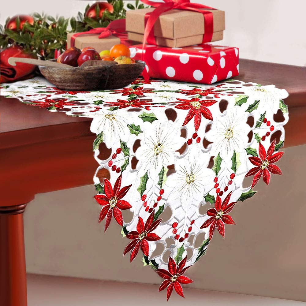 Morinostation 15 x 69 Inch Christmas Embroidered Table Runners Poinsettia Holly Leaf Table Linens for Home Wedding Christmas Decorations