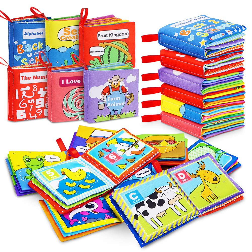 Pack of 6 Infant Travel Toys- Let/'s Learn Together YiQu Infant Travel Toys- Lets Learn Together Touch and Feel Crinkle book Shower Gift for Baby Toddler Educational Toy for Boy /& Girl Cloth Book for Baby Soft Activity Books for Baby