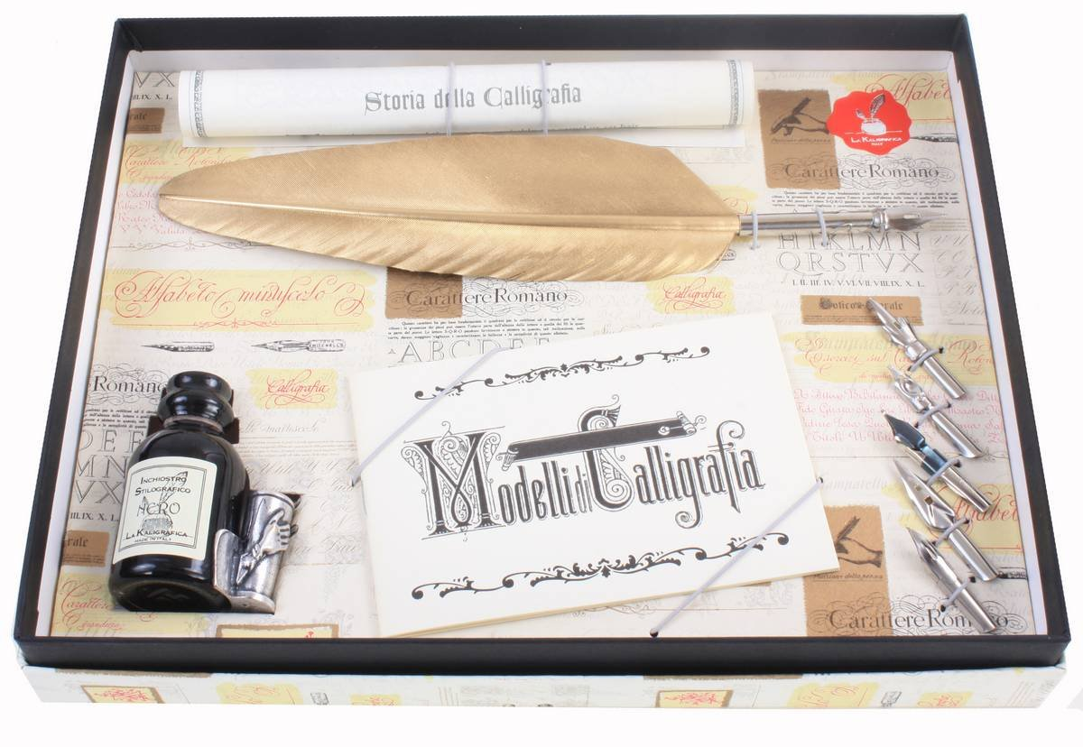 Coles Calligraphy Unisex Feather Quill and 5 Nib Set - Gold