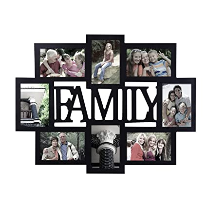 Amazoncom Adeco Pf0432 Black Wood Family Wall Hanging Collage