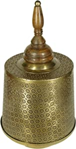 Courtyard Gifts & Decor Moroccan Table Lantern in Metal and Wood/Antique Decorative Candle Holder for Indoor/Outdoor Home Decor| Wedding Decor