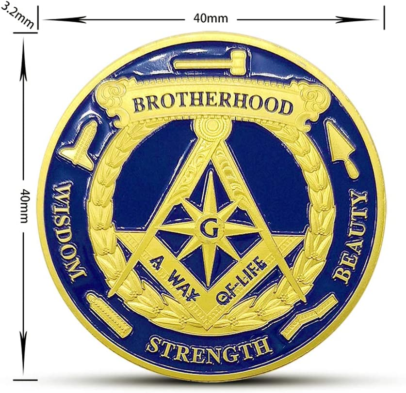 BullBallBoll Eye of The Masonic Commemorative Coin Gold Plated Souvenir Art Collection