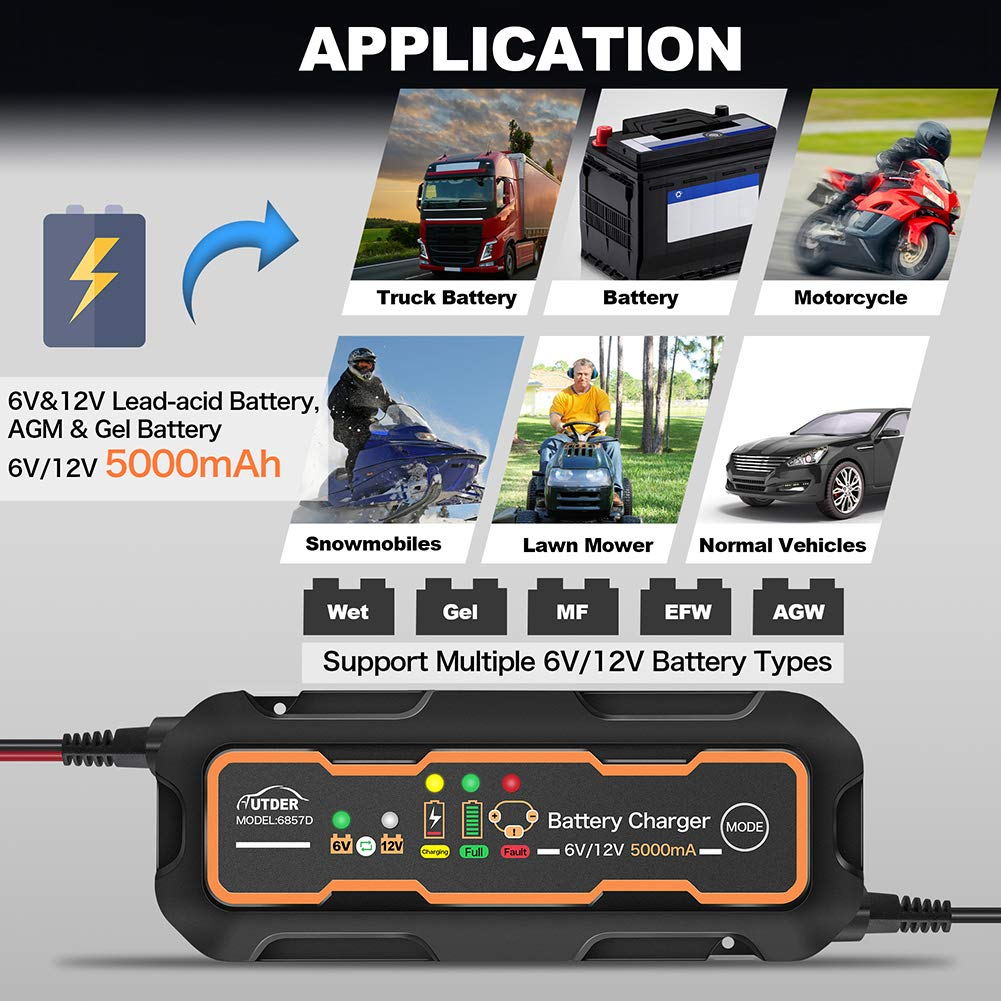 AUTDER 12V 1.5A Caricabatteria per auto automatico caricabatterie automatico intelligente con cavo ad anello e clip per batteria per auto e moto