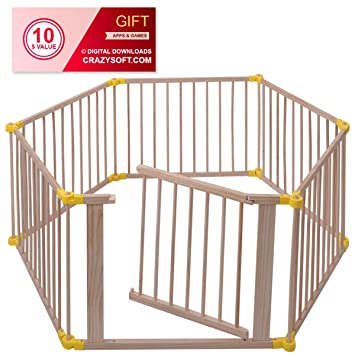Baby Playpen 6 Panel Adjustable Wooden Frame Kids Child Safety Play Fence Gate