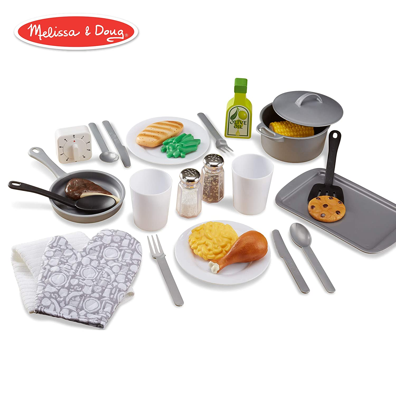 Melissa Doug Kitchen Accessory Set Pretend Play Durable Construction Companion To Kitchen Sets 22 Piece Set 10 5 H 13 5 W 4 L