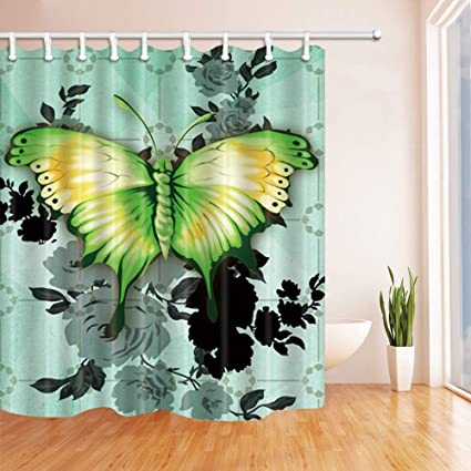 CdHBH 3D Digital Printing Ink Painting Green Butterfly Shower Curtain Mildew Resistant Polyester Fabric Bathroom Decorations