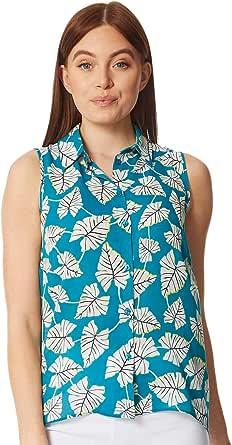 Roman Originals - Blusa frontal con botones de hojas tropicales para mujer, para todos los días, día festivo, primavera, verano, estampado de hojas florales