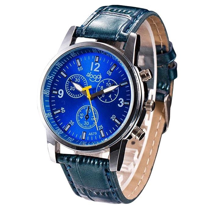 Reloj De Pulsera Hombre De Correa De Cuero Artificia De Cuarzo Cronógrafo Analógico Impermeable De Moda Negocios Formales Casual (Azul): Amazon.es: Ropa y ...