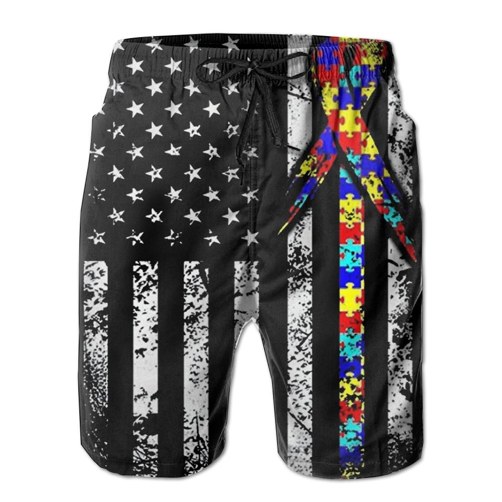 MIPU SHANGMAO Mens American Flag Autism Puzzle Summer Beach Shorts Leisure Quick Dry Swimming Pants