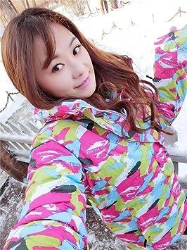 Zjsjacket Traje de Esqui Mujeres Clima frío Chaquetas de esquí con Capucha Caliente Impermeable de Invierno