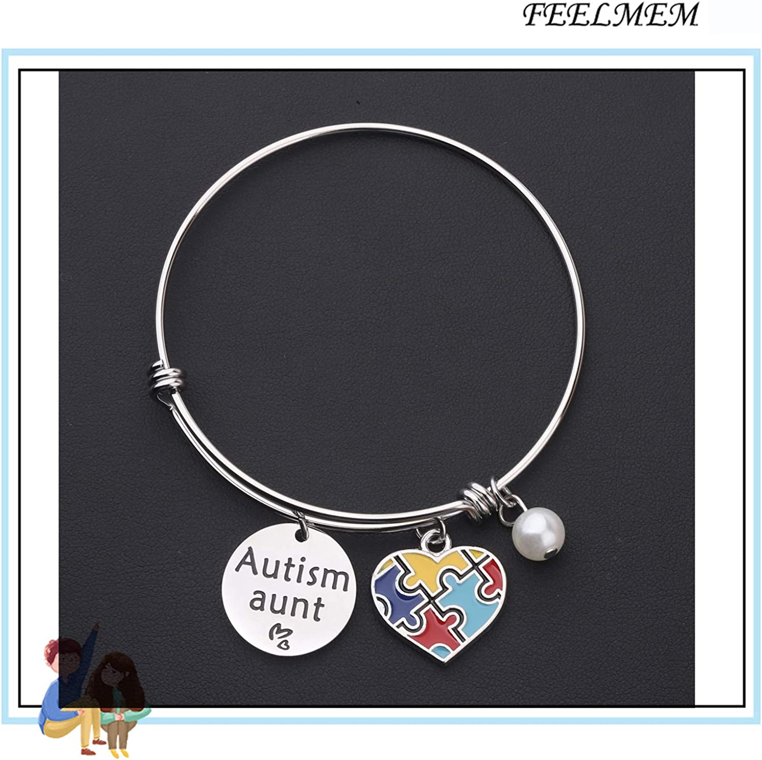 Autism Awareness Puzzle Piece Bracelet Jewelry For Women Great Gifts For Autism Mom And Teachers