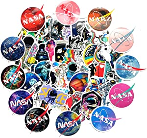 Ratgoo 62Pcs Trendy Waterproof Vinyl Cute Cartoon Stickers Decals Pack for NASA Astronaut Motorcycle Car Luggage Phone Guitar Water Bottle Flasks Bike Laptop Motocross Adults Girls Kids Teens Boys.
