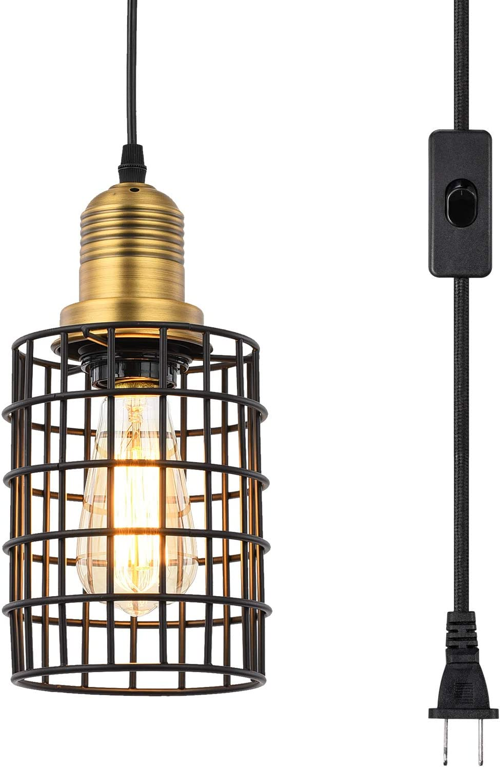 Topotdor Metal Cage Pendant Lighting with Plug in Cord,Vintage Industrial Hanging Ceiling Lamp E26 Edison Plug in Light Fixture On Off Switch Matte Black