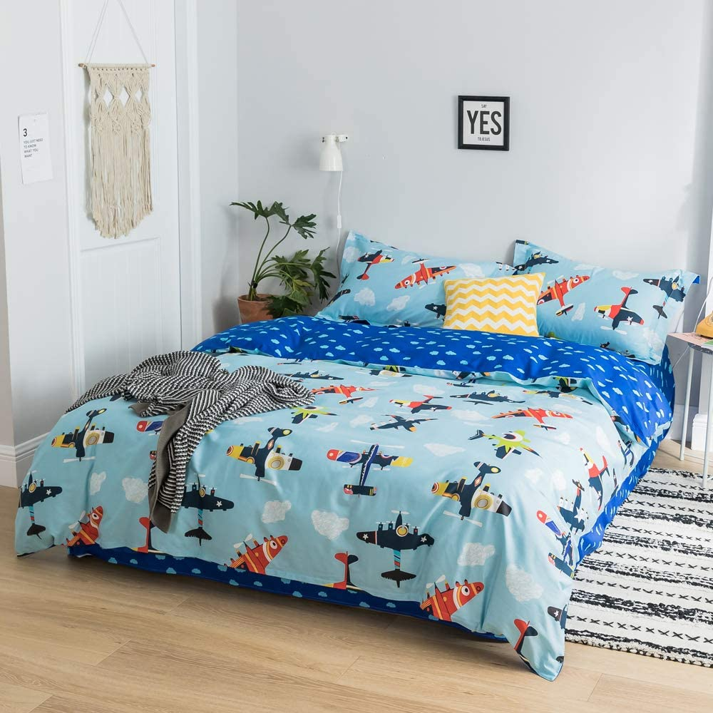 Fresh Kids Cartoon Duvet Cover Set Twin Animals Leaves Print Cotton Bedding Set for Boys Girls 3 Piece Reversible Comforter Cover Set Teens Children Cartoon Bedding Collection Twin Bed