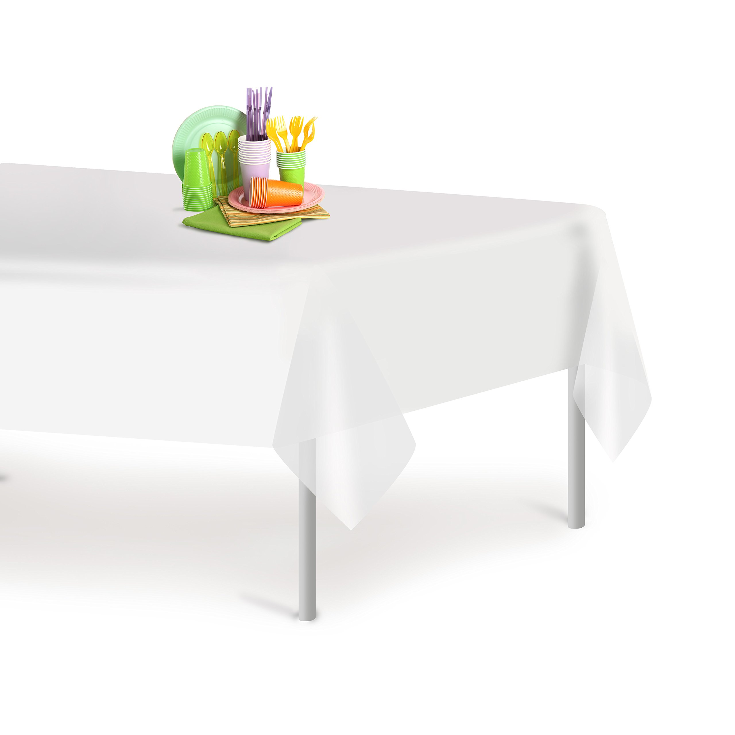 White 12 Pack Premium Disposable Plastic Tablecloth 54 Inch. x 108 Inch. Rectangle Table Cover By Dluxware