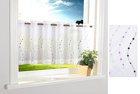 Punkt Scheibengardine Durchzuglöcher für Gardinenstangen Scheibe Gardine  Küche Lila HxB 40x120 cm, 112242