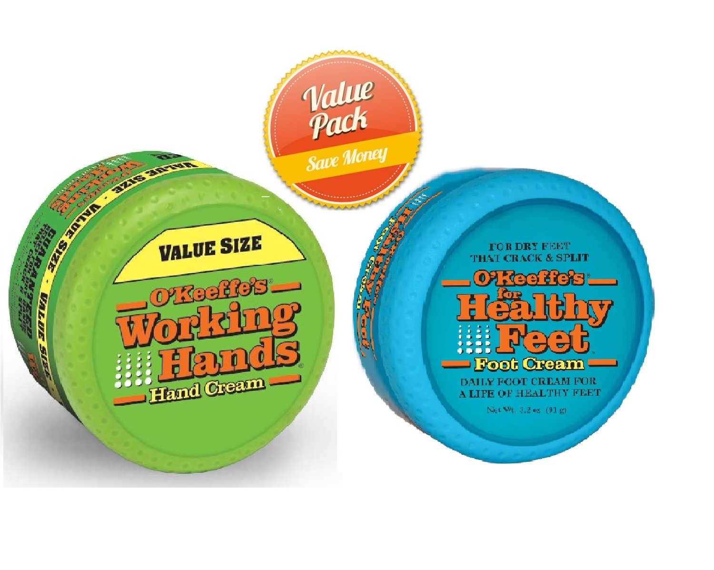 O'Keeffe's Working Hands 6.8oz Value Size Jar - Healthy Feet Cream 3.2oz Jar, Combo Set by O'Keeffe's