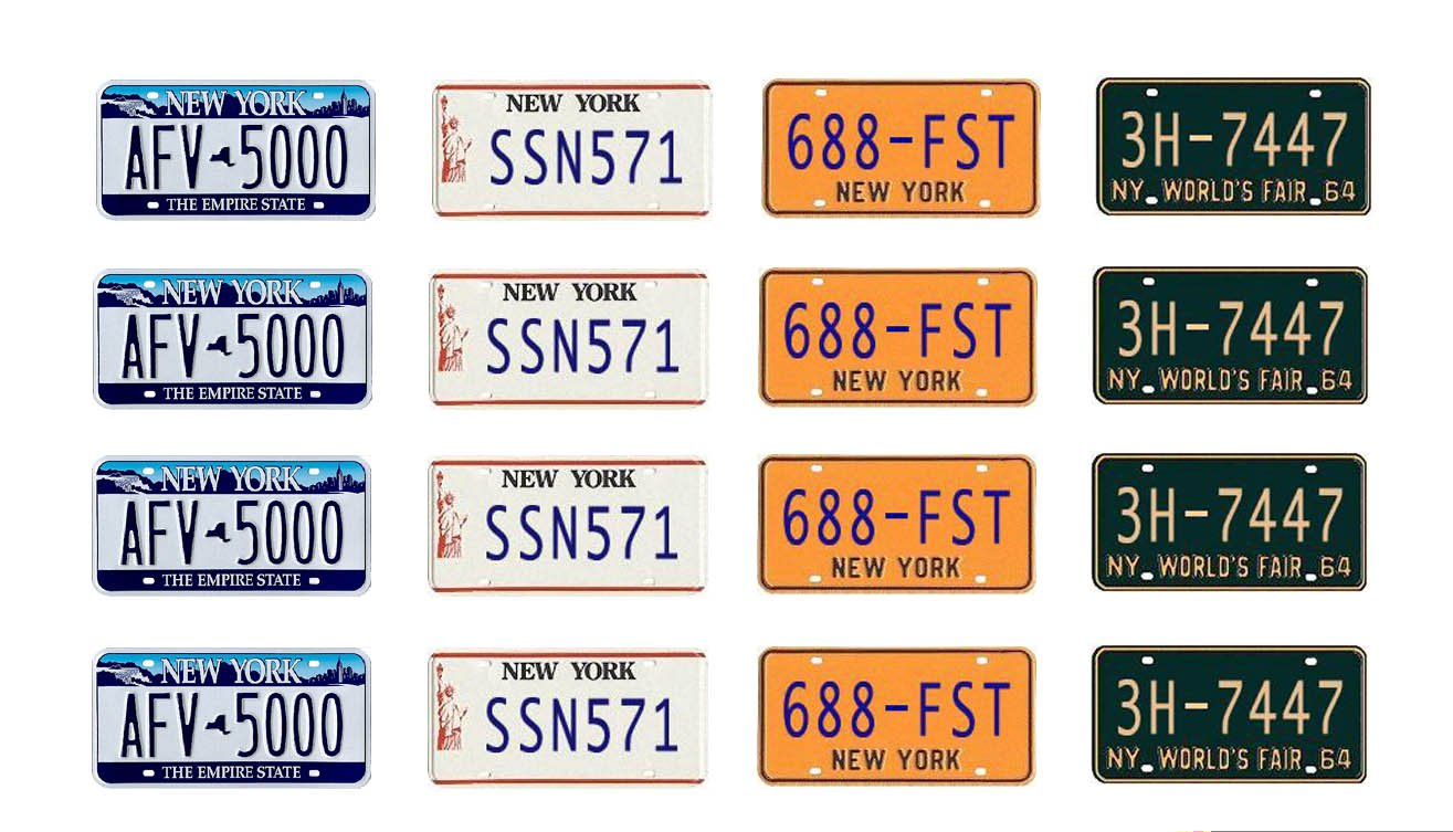 1:25 Scale New York License Plates