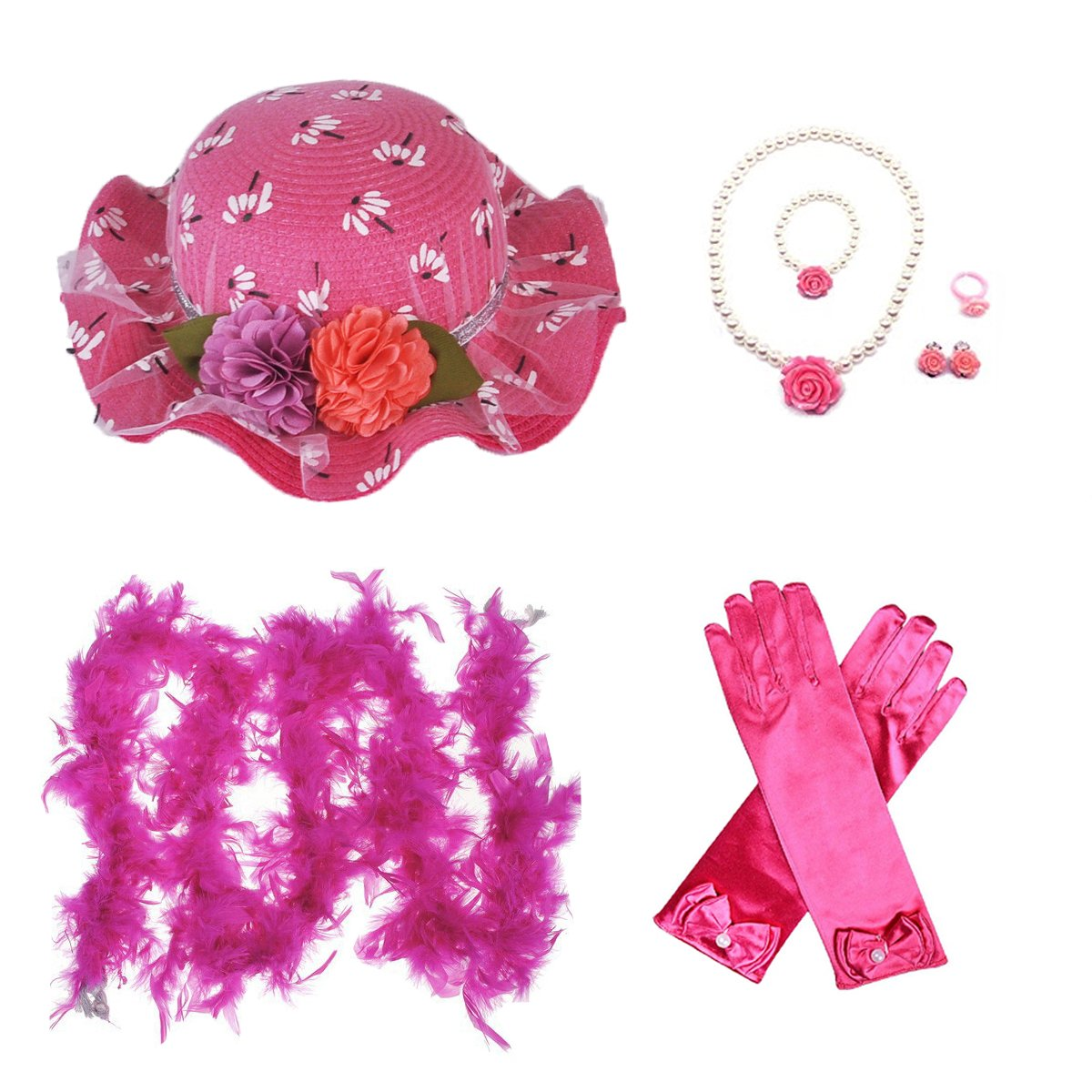 GILAND Girls Tea Party Beauty Set Dress Up Play Sunhat, Feather Boa, Gloves and Jewelry - Rose Red