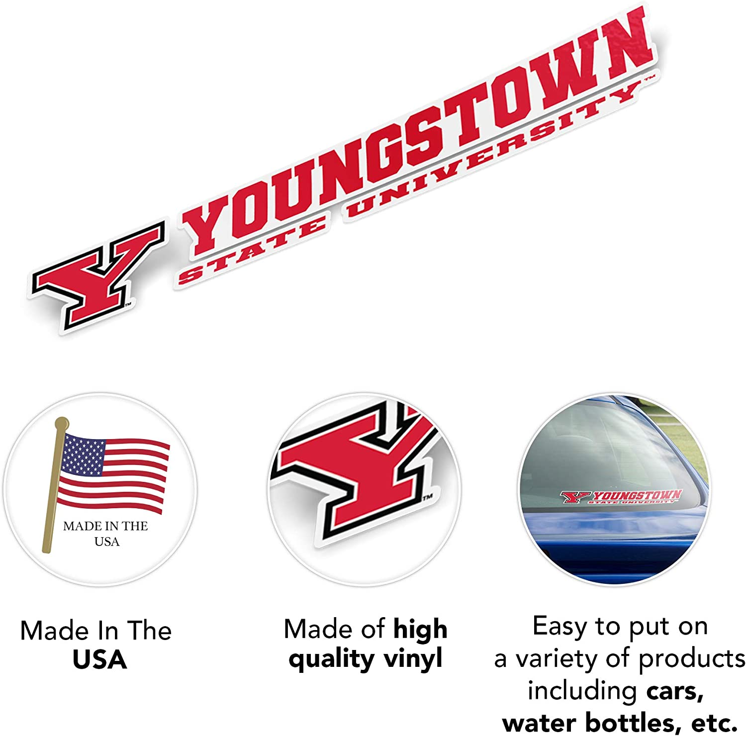 8 Inch Sticker Youngstown State University YSU Penguins NCAA Name Logo Vinyl Decal Laptop Water Bottle Car Scrapbook