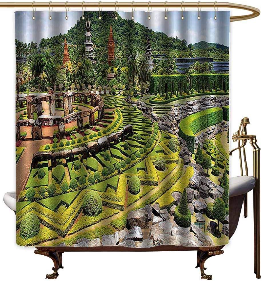 Godves Cortinas para mampara de Ducha, colección de decoración del hogar, Borde Curvo de céspedes y Camas de Flores en Jardines Formales y días de Verano, Cortina de Ducha, Verde Rojo Amarillo: