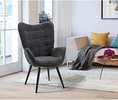 FurnitureR Wingback Accent Chair Armchair Comfort Fabric Upholstered Chair