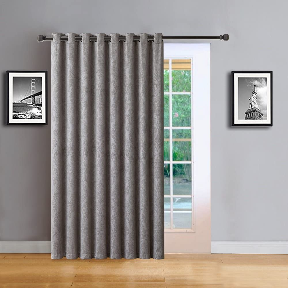 """Warm Home Designs 1 Extra-Large, Extra-Long 102"""" X 96"""" Panel of Textured Light Gray Patio Door Curtains. Insulated Blackout Sliding Door or Room Divider Drape with Embossed Pattern. EV Grey Patio 96"""