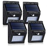 Topop Luci Solari Lampada Wireless con 320lm ad Energia Solare da Esterno con 16 Lampadine LED di Sensore di Movimento con Paralume Diamante, per Parete / Giardino / Cortile / Scale / Muro, con Funzione di Dusk to Dawn Dark Sensing Auto On / Off [4 Pezzi]
