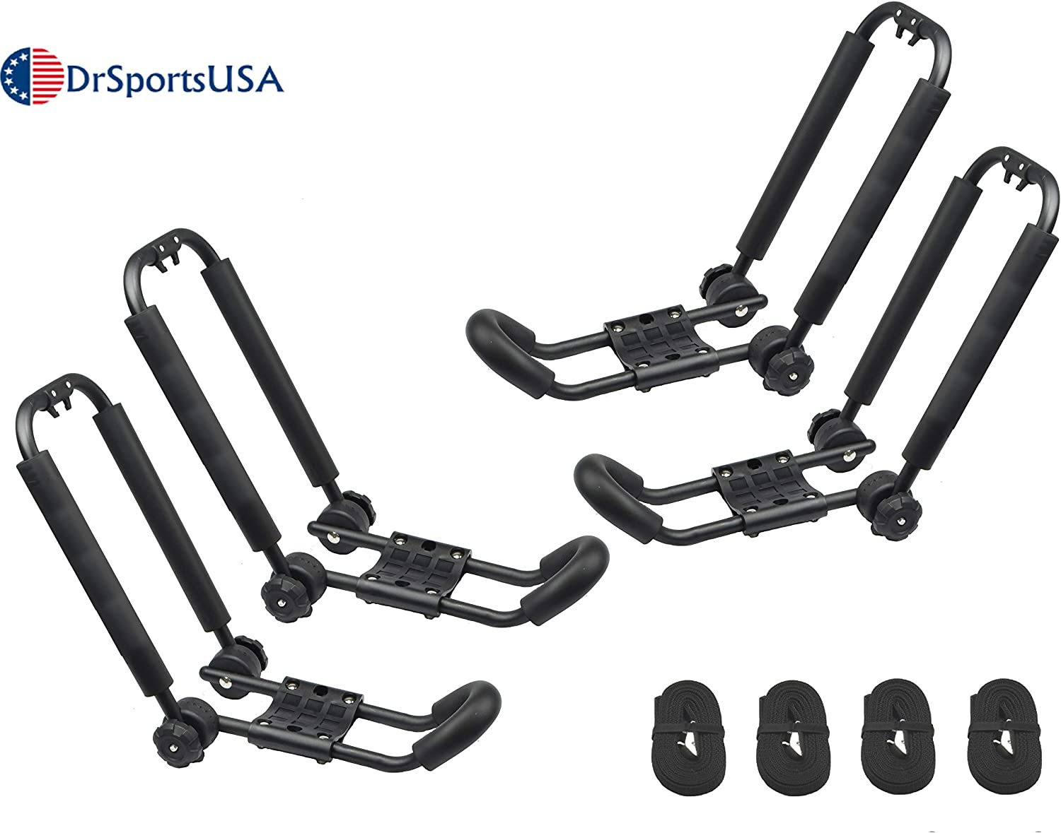 SUP Kayaks Car and Truck DrSportsUSA Universal Foldable J-Bar 2 Pairs Kayak Rack Folding Car Roof Top Carrier for Canoe Surfboard and Ski Board Rooftop Mount on SUV