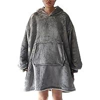 Hoodie Ultra Plush Comfy Blanket Giant Sweatshirt Huggle Fleece Warm Hooded (Gray)