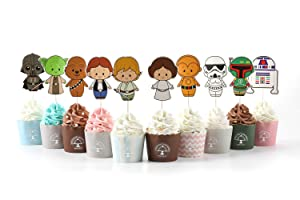 CORODER 20PCS Star Wars Cupcake Toppers For Kids Birthday Party Cake Decorations (style 3)