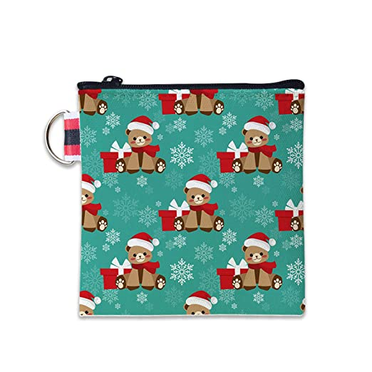 576bf945d2c7 Christmas Holiday Bear Canvas Coin Purse Cash Bag Small Zipper Purse ...