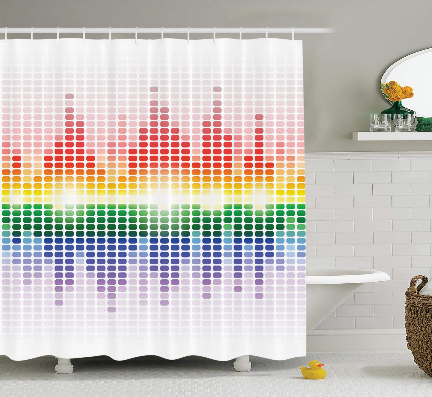 Ambesonne Music Shower Curtain, Rainbow Digital Style Equalizer Amplifier Recording Equipment Night Club Disco Theme, Cloth Fabric Bathroom Decor Set with Hooks, 75'' Long, Rainbow Colors
