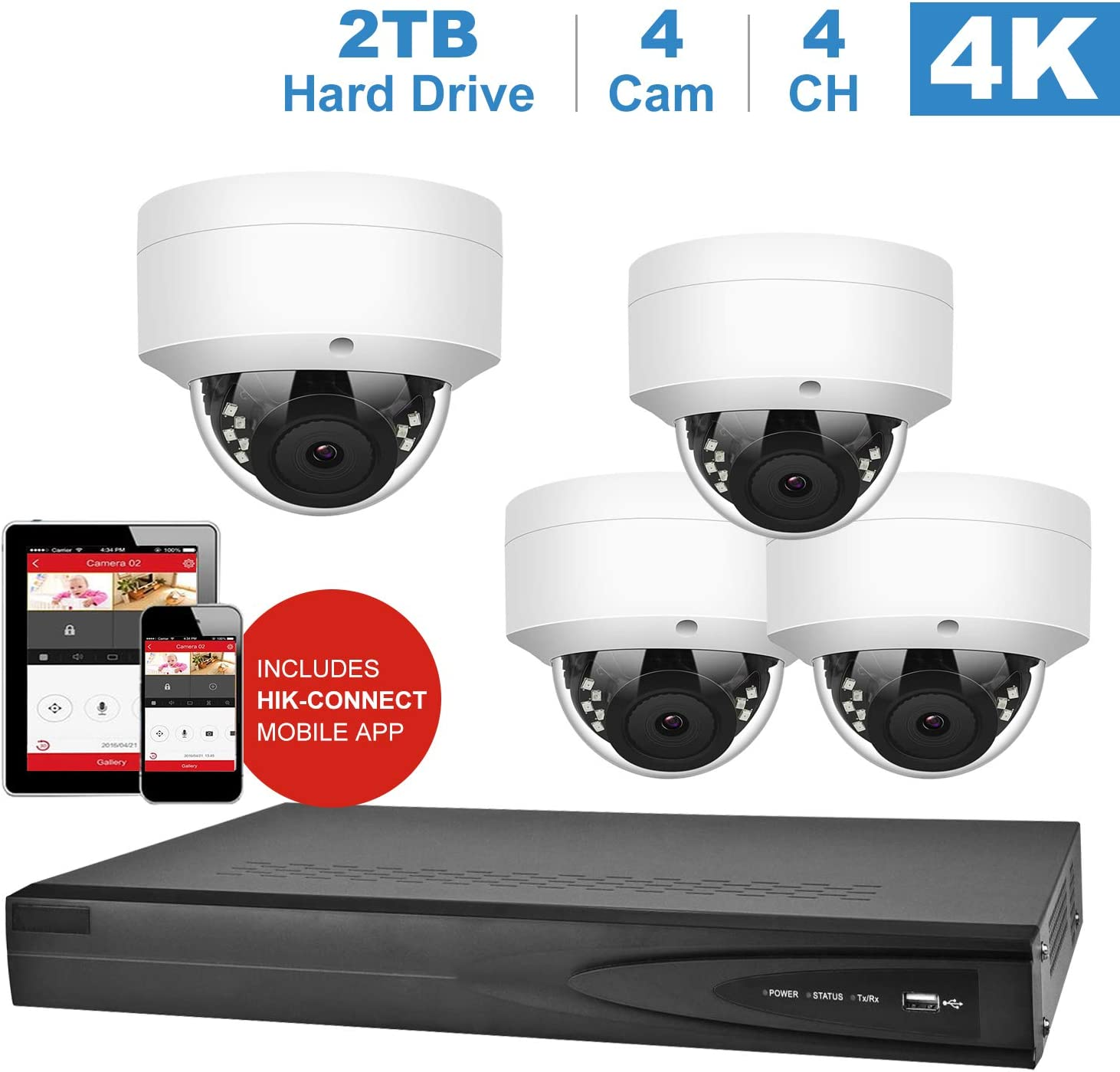 【Audio】 Anpviz Security 5MP 4CH PoE Security Camera System, 4Channel 4K 8MP HD H.265+ Onvif NVR 2TB HDD (Compatible with Hikvision DS-7604NI-K1/4P), 4 Outdoor 5MP 2592x1944P HD IP Cameras, 100ft IR, 71w6NLP32BaL