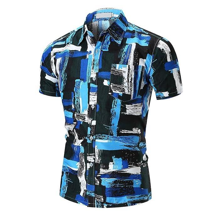 Gusspower Herren T Shirts, Männer Blau Drucken Lässig Dünnes
