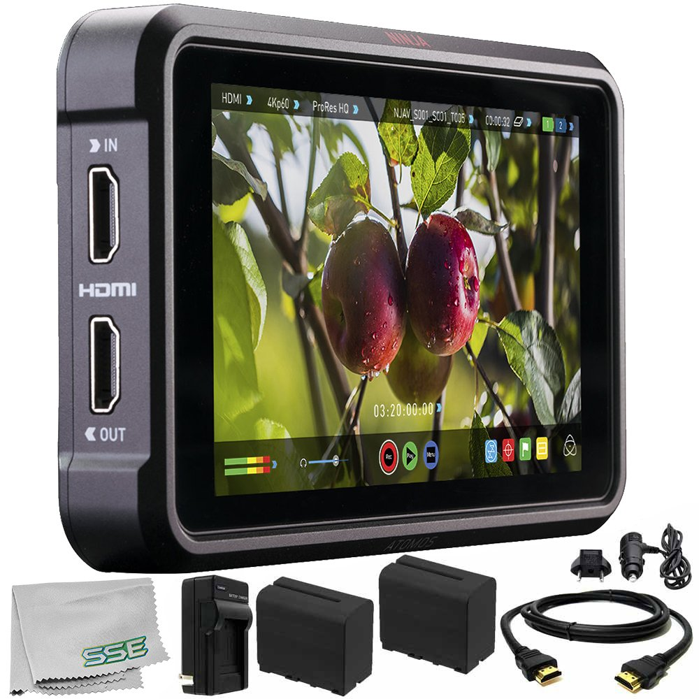 Atomos Ninja V 5'' 4K HDMI Recording Monitor 6PC Bundle – Includes 2X Replacement Batteries + AC/DC Rapid Home & Travel Charger + HDMI Cable + Microfiber Cleaning Cloth