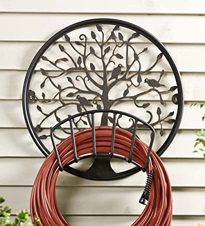Tree Of Life Iron Metal Wall Mount Garden Hose Holder With Black Finish And  Golden Highlights