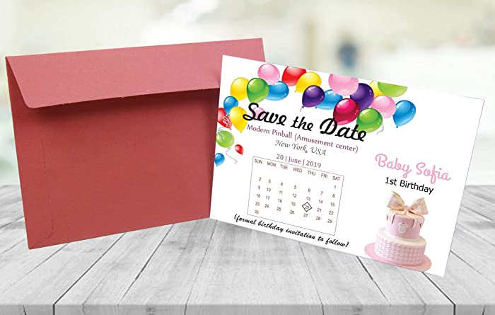 Personalized Birthday Baby Save The Date Cards With Envelopes Affordable In Price Rustic Floral Engagement Shower Anniversary