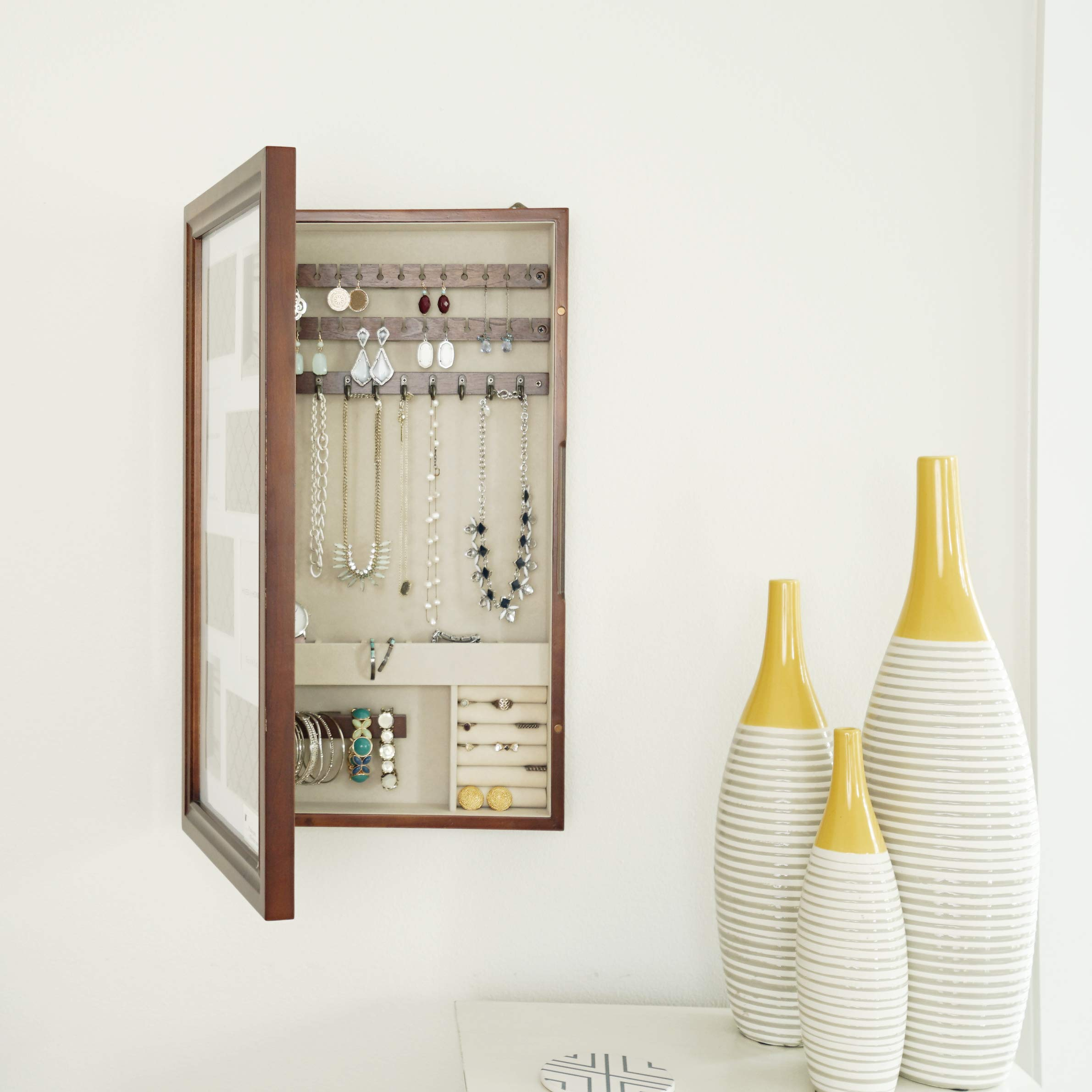 Hives and Honey Collage Frame Jewelry Armoire, Antique Walnut