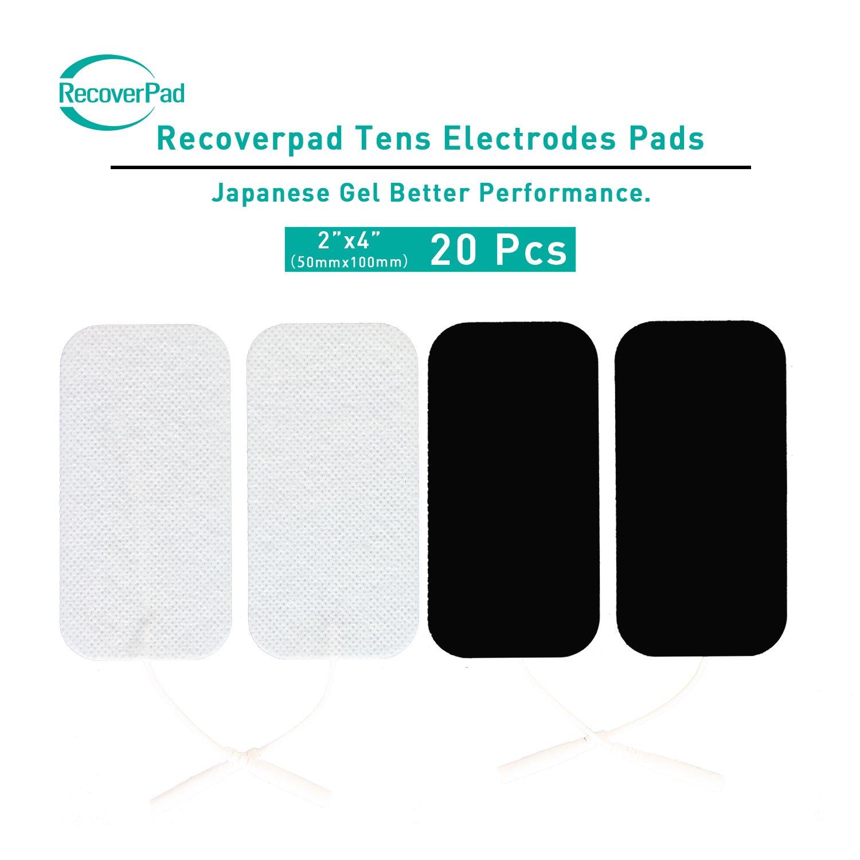 RecoverPad 16pcs 50x100mm Profesional TENS Electrodos, 3rd Gel japoné s Sin lá tex Electrodos(CE/FDA Aprobado), Mejor desempeñ o autoadherente para electroestimuladores TENS EMS 3rd Gel japonés Sin látex Electrodos(CE/FDA Aprobado)