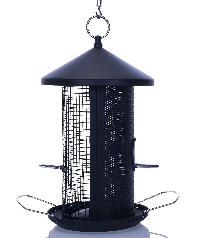 Cottage Garden 12 inch Matte Black Heavy Duty Mesh Metal 3 Lb. Dual Nut and Seed Bird Feeder