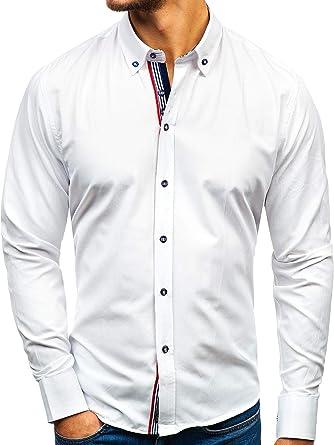 BOLF Hombre Camisa De Manga Larga 8843 Blanco S [2B2]: Amazon.es: Ropa y accesorios