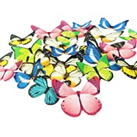 Set of 30 Edible Cupcake Toppers Wedding Cake Birthday Party Food Decoration Mixed Size & Colour (Butterfly)