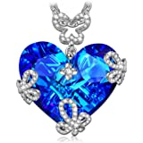 """LADY COLOUR """"Marry in Blue"""" Heart Necklace Made with Swarovski Crystals"""